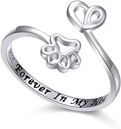 EBAT Cat Ring Cute Paw Dog Sterling Silver Rings for Girls Women Pet Lovers Personalized Gifts Customized Name Custom Text Jewelry Custom Engraved Engagement Promise Love Rings for Women