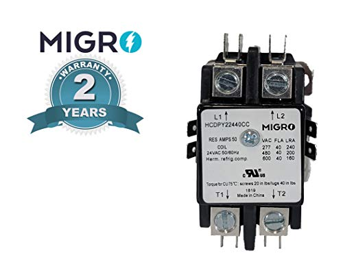 Migro 2 Pole 40 AMP Heavy Duty AC Contactor Replaces Virtually All Residential 2 Pole Models (2- Year Warranty Silver Alloy Content Contactors)