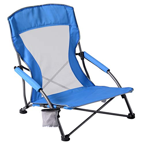 Backpack Beach Chair Low Sling Mesh High Back Folding Camp Chair Carry Bag for Outdoor Concert BBQ Travel Picnic Festival