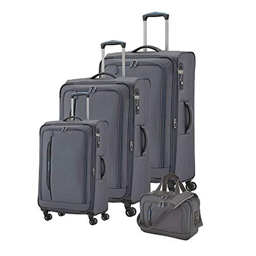 travelite 4-Rad Weichgepäck Koffer Set Größen L/M/S mit TSA Schloss, Handgepäck erfüllt IATA Bordgepäck Maß, Gepäck Serie CROSSLITE: Robuster Trolley im Business Look, 089540-04, anthrazit