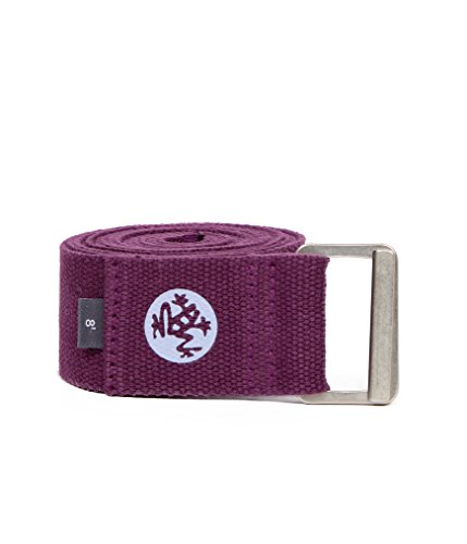 Manduka Align Yoga Strap – Strong, Durable Cotton Webbing with Adjustable Buckle for Secure, Slip-Free Support for Stretching, Yoga, Pilates and General Fitness. (35440), 8 Feet