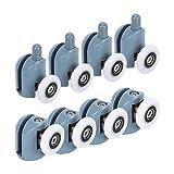 HO2NLE 8pcs Rodamientos Mampara Ducha 25mm Ruedas para Mamparas de Baño de Cristal 4-6mm 4piezas Superiores y 4piezas Inferiores para Puerta Corredera de Cristal Baño Repuesto