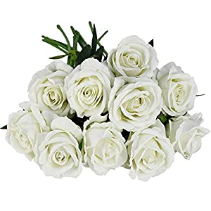 MaYaN Artificial Rose Flower Flannel Flower Bouquet 10pcs Real Touch Single Head Rose Artificial Bouquet Wedding Decoration Home Decoration