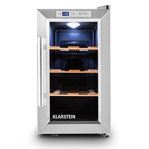 Klarstein Reserva Piccola - Cantinetta Vino, Frigo Minibar, 8 bottiglie, 25 litri di volume, temperatura tra 8 e 18 gradi, 3 ripiani, illuminazione LED, Sensore di temperatura, silver…