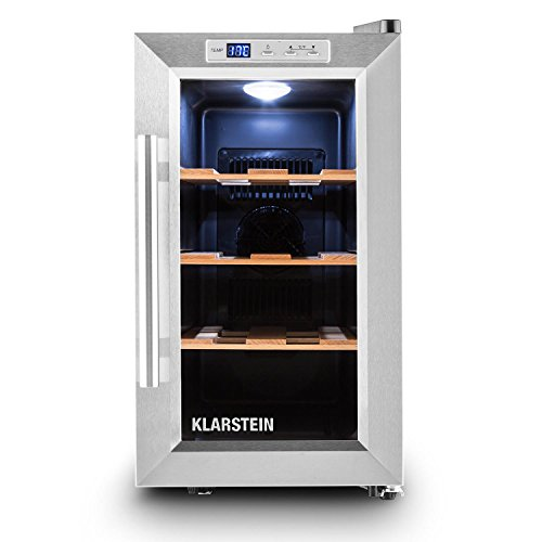 Klarstein Reserva Piccola - Weinkühlschrank, Getränkekühlschrank, 8 Flaschen, 3 entnehmbaren Holzablagen, Kühltemperatur 8-18 °C, Touch-Bedienung, Innenbeleuchtung, freistehend, schwarz-silber