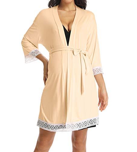 Ritera Damen Umstands Stillnachthemd und Morgenmantel Baumwolle mit Spitze Stillkleid,Orange,S