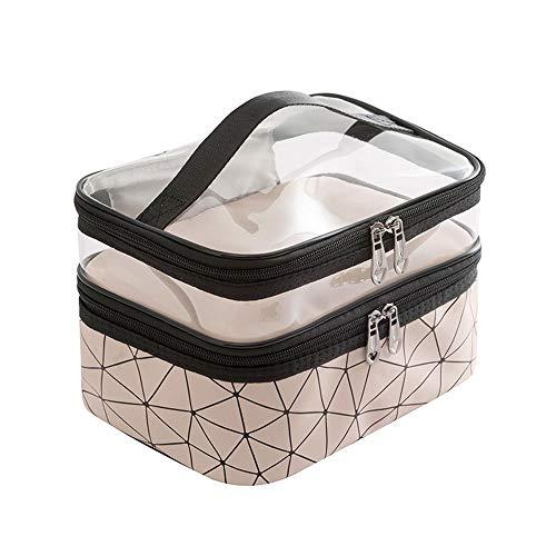 Wangxin® Cosmetic Bag One Pack Double Usage Double Top Et Bottom Femmes Ins Petit Style Portable Simple Sac De Lavage De Grande Capacité Sac Cosmétique Voyage Beige