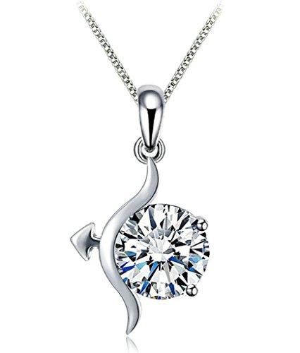 Aooaz gioielli–Collana da donna, in argento Sterling 925Ciondolo Zirconi Box Catena con ciondolo bianco AAA CZ Sagittario Round Ciondolo Collana per donna bianco