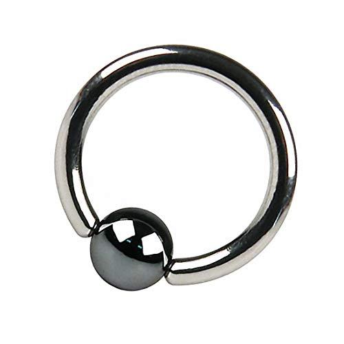 Taffstyle BCR Piercing Ring Klemmring Klemm Kugel Perle Septum Brust Tragus Helix Nase Lippe Ohr Intim Intimpiercing Schwarz 1,0 x 8 x 3mm