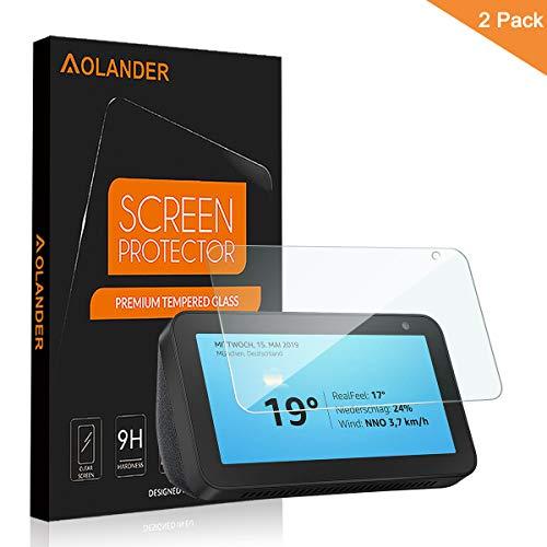 AOLANDER Compatibile with Amazon Echo Show 5 Pellicola Protettiva Vetro Temperato, 9H Durezza Protezione dello schermo [Scratch Resistente] [Senza Bolle] Proteggi Schermo【2 Pack】