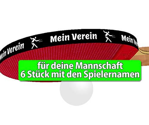 Mannschafts-Set 6 STK. Tischtennis Kantenband 12 mm schwarz mit den einzelnen Spielernamen