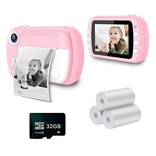 i-Paint P9 - Cámara instantánea para niños, impresión B/N sobre Papel térmico, cámara 1080P, videocámara Digital FHD, LCD de 3,5', Micro SD de 32 GB, Color Rosa
