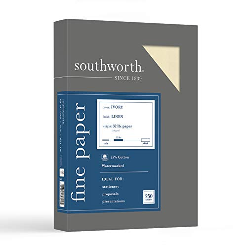 Southworth 25% Business Paper, 8.5' x 11', 32 lb/120 GSM, Linen Finish, Ivory, 250 Count - Packaging May Vary (J568C)