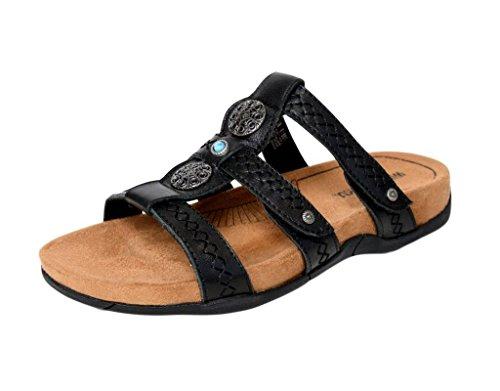 Minnetonka Womens Baker Slide Sandal, Black Leather, Size 5