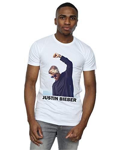 Justin Bieber hombre Shaded Pose Camiseta Large Blanco