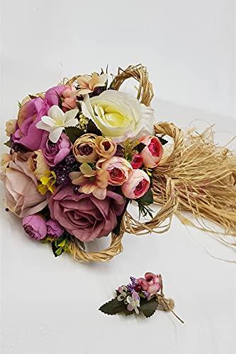 Hayalperest Künstliche Blume Braut Blume Braut mit Lachs, Hochzeit, Brautstrauß, Brautblume, Hand Blume, Zeremonie, Blume