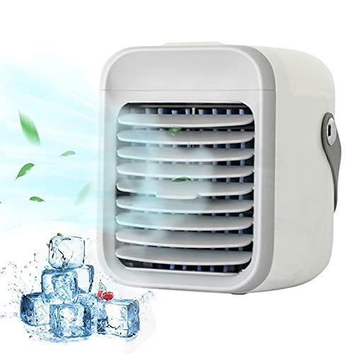 Mini Aire Acondicionado Portátil, Ventilador De Aire Acondicionado Evaporativo Recargable Con 3 Velocidades 7 Colores Humidificador De Refrigerador De Aire Personal White