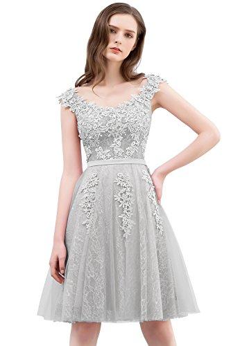 MisShow Damen Prinzessin Tüll V-Ausschnitt Brautjunfernkleid Applique Ballkleid Abendkleid Rückenfrei Kurz Silber 42