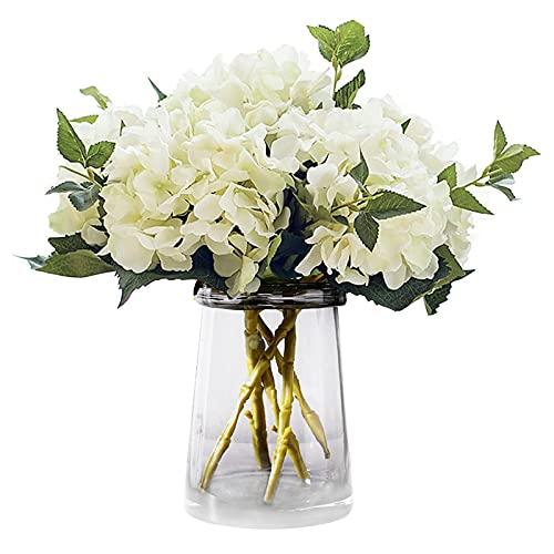 3 piezas de hortensias artificiales hortensias con tallos flores de hortensias de seda falsas flores de imitación para bodas, ramos de novia, decoración de oficina en casa, arreglos florales White
