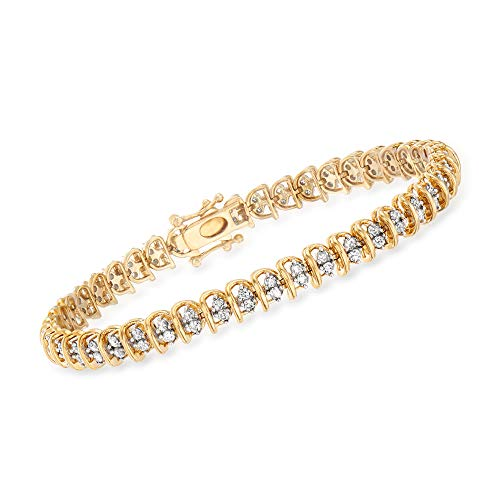 Ross-Simons 2.00 ct. t.w. Diamond Swirl-Link Tennis Bracelet in 18kt Gold Over Sterling. 7 inches