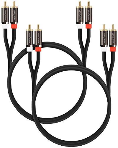FosPower Cavo RCA (0,9m - 2 Pack) 2x RCA maschio a 2x RCA maschio Stereo Audio Cavo per Home Theater, HDTV, Altoparlanti Stereo, Subwoofer premio Suono Qualità Cable