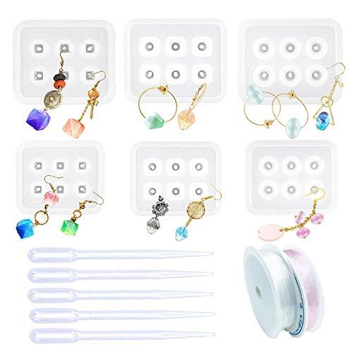 Woohome 6 Pz Molde Silicona Resina Diamante de Resina Talón con con Agujero, 5 Pz Goteros, 2 Roll String para Collar Pendiente Fabricación de Colgante Creativo Bricolaje DIY