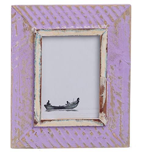 HOUTWERKER Rustikaler Vintage Bilder-Rahmen - Foto-Größe 15x20 cm A5 lila - gefertigt in Handarbeit - Retro Shabby Foto-Rahmen Aufstellen Aufhängen Echt-Holz Alt-Holz Massiv-Holz Glas-Scheibe