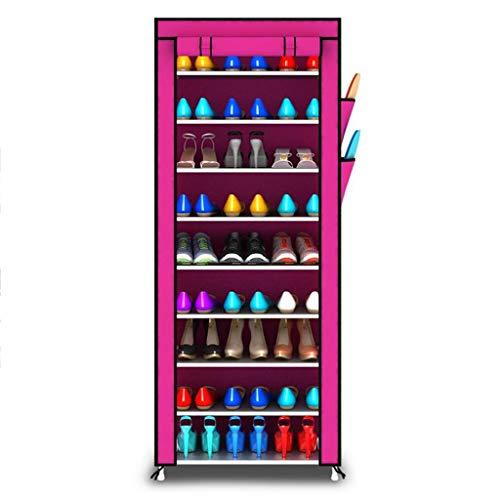 Zapatero 10 Nivel de zapatos de almacenamiento en rack gabinete, Zapato de tela Plataforma Organizador Permanente, de 27 pares zapatos con prueba de polvo de la cubierta, los 60cm * 30cm * 160cm (LxWx