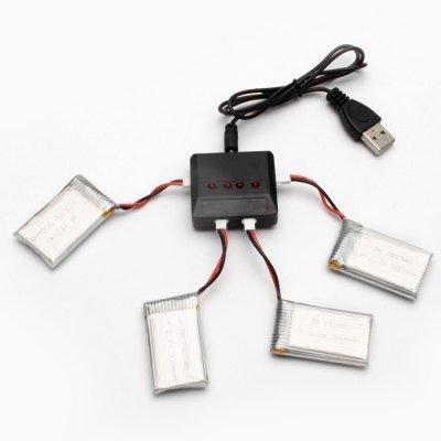 YUNIQUE  4 Pezzi Batterie Lipo Ricaricabili (3.7v, 500 mAh Lipo) + 1 Caricatore 1 to 4 per Rc Droni Quadricotteri Syma X5 X5C X5SC X5SW, Cheerson CX-30W, Skytech M68, Wltoys F949