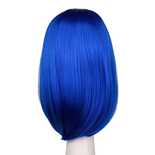 ZQDM Women Girl Perruque Courte, fête de Costume Rose 40cm Synthetic Cheveux Perruques Cosplay Droit,5 Dark Blue