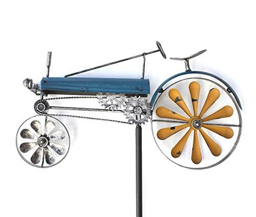 DENK Gartenstecker Metall Traktor XL Breite 48 cm Trecker Blau 23700 Windspiel Windrad Wetterfest Gartendeko Garten Gartenstab Bodenstecker