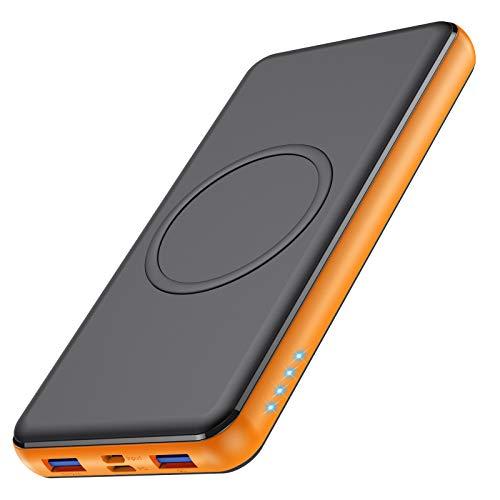 VOOE 10W Wireless Powerbank 26800mAh【18W PD Type-C&USB QC 3.0 】 Externer Akku mit 4 Ports Schnellladung Power Pack Ladegerät Akkupack Kompatibel mit Handy,iPhone,Galaxy, Huawei-Schwarz orange