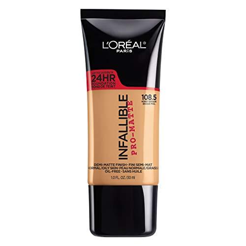 L'Oreal Paris Cosmetics Makeup Infallible Pro-Matte Liquid Longwear Foundation, Honey Bisque 108.5, 1 fl. oz, 108.5 Honey Bisque