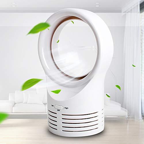 funchic Bladeless Fan, Mini Electric Desk Fan Table Fan,Safe Quiet Cooling Fan Portable Durable Lightweight Air Mute Fan for Home Bedroom Baby-Room Office Outdoor - Adjustable Speed (White)
