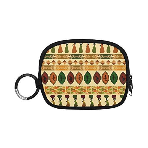 Geldbörse Tasche afrikanischen Stammes-ethnischen Stil Kunst Geldbörsen für Jungen Geldbörse Reise Reißverschluss mit Schlüsselbund Ring für Mädchen, Frauen, Kinder