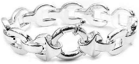 Bold Sterling Silver Oval Panther Link Chain 7.5