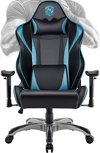 Big&Tall Gaming Chair Racing Style Swivel Computer Gamer Chair with Fully Foam, Esports Video Game Chair, PU Leather Executive Office Chair with Lift Headrest and Lumbar Support blue chair gaming