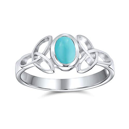 Delicado celta Trinidad nudo Triquetra anillo para las mujeres adolescente delgada banda azul estabilizado turquesa 925 anillo de plata de ley