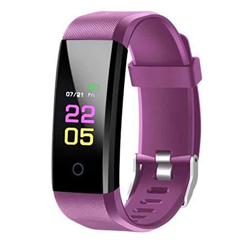 GZA Bluetooth Deportes Pulsera Unisex Color Pantalla Táctil Tasa De Corazón Presión Arterial Reloj Inteligente Impermeable para Xiaomi iPhone (Color : Purple)