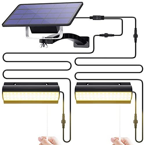 Dual Head Solar Pendant Lights Outdoor Hanging, Solar Powered Shed Light, Chicken Coop Solar Light Chandelier, Waterproof Lighting Fixture for Home Yard Patio Barn Garage Porch Balcony