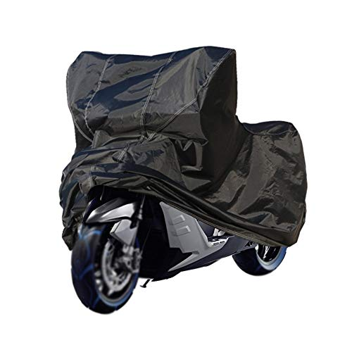 FYZS Motorrad-Cover, All Season Schwarz Heavy Duty wasserdichtes Gewebe Sun Motorrad-Abdeckung mit Lockholes Verschiedene Größen (Color : Black, Size : XXXL -295×110×140cm)