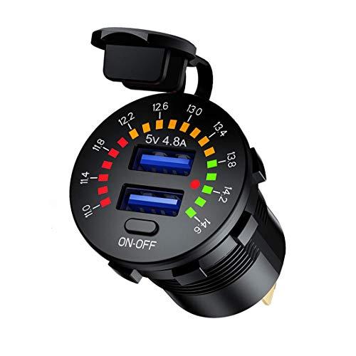 Dual-USB-Steckdose für Auto, 5 V, 4,8 A, digitales Voltmeter, farbig, 12 V, mit Ein-/Aus-Schalter für Auto, LKW, Motorrad, Yacht