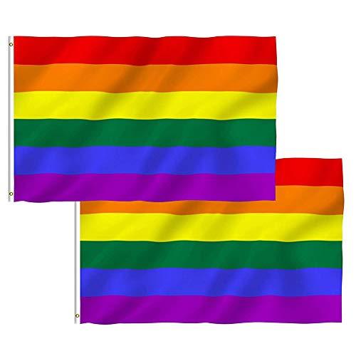 2 Piezas banderas del orgullo gay arco iris para desfile gay y lesbiano ,150 x 90 cm