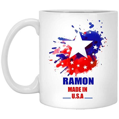 N\A Text benutzerdefinierte Tasse für Erwachsene - Ramon Made In USA Flagge Aquarell - Personalisierte Kaffeetassen für ihn, sie an Weihnachten - weiße Keramik