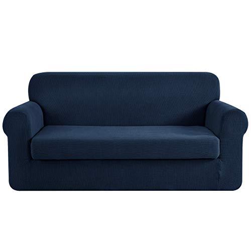 CHUN YI Stretch Loveseat Sofa Slipcover 2-Piece Couch Cover Furniture Protector, 2 Seater Coat Soft with Elastic Bottom, Checks Spandex Jacquard Fabric, Medium, Dark Blue