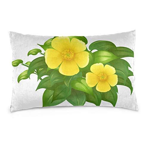 Lesif Fundas de cojín de terciopelo rectangulares fundas de almohada suaves decorativas para sofá, dormitorio, coche, 40,6 x 60,9 cm (flores amarillas en arbusto verde)