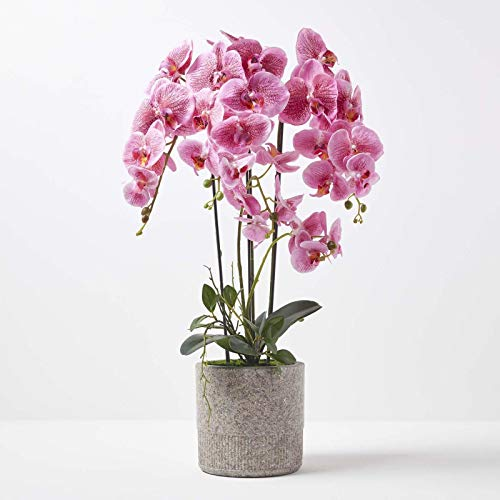 HOMESCAPES Large Artificial Pink Orchid in Pot 82 m Tall Lifelike Faux Orchid Plant In Grey Cement Pot Real Touch Silk Flowers and Green Leaves Phalaenopsis Orchid Flower for Indoor Decoration