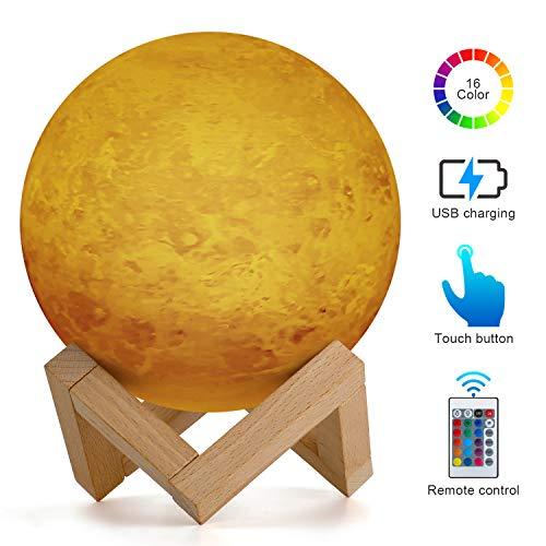 15 cm Venus Planet Lámpara, AMZJUPWM 3D Impresión 16 Colores con Soporte, Control Táctil y Luz Nocturna Portátil USB Recargable para Decoración del Hogar y Regalos para Niños, Amigos, Amantes (Venus)