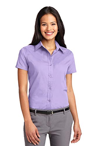 Port Authority Women's Short Sleeve Easy Care Shirt XL Bright Lavender