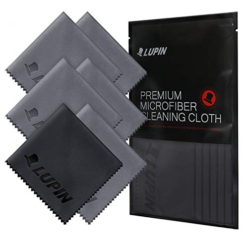 Lupin Microfiber Cleaning Cloths, 6 Pack Premium Ultra Lint Free Polishing Cloth for Cell Phone, Tablets, Laptops, iPad, Glasses, Camera Lens, TV Screens & Other Delicate Surfaces - Gray